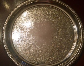 """Webster Wilcox 12"""" Round Silver Serving Tray 7521"""