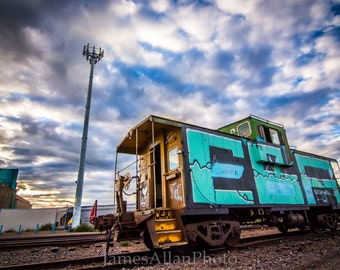 Lonely Caboose 2 Wall art print photograph railroad train track Minneapolis Minnesota