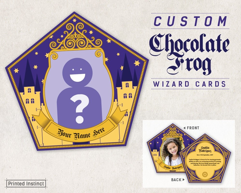 Harry Potter Party Custom Printable Chocolate Frog Cards