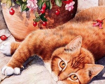 Cross stitch pattern Red-headed cat