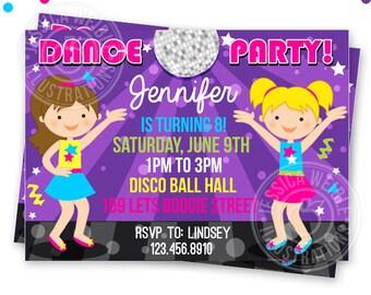 Girls Dance Party Printable Invitation- DIY or Printed Custom Dancing Party Invitation- Printable Disco Birthday Party Invitation
