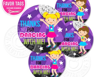 Girls Dance Party Printable Party Favor Tags, Cupcake Toppers, Printable Dancing Party Favors, Thanks for Dancing with Me, Disco