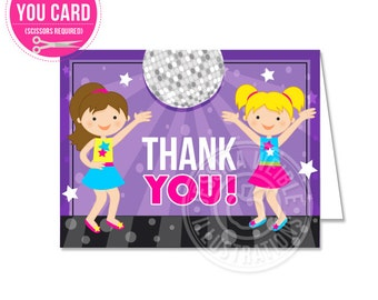 Girls Dance Party Printable Thank You, 4X5 Party Thank You Note, Party Printable Thank You, Disco Dancing Thank You Card, Folding