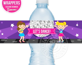 Girls Dance Party Printable Water Bottle Wrapper, Disco Dancing Party Bottle Label, Instant Download, Birthday Party Printable Wrappers