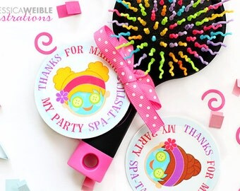 Girls Spa Party Printable Party Favor Tags, Printable Spa Party Favors, Spa Party Favor Circle Tags, Thanks for making my party Spa-Tastic