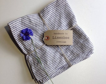 Linen Napkins, Set of six white and blue striped cloth napkins, cloth napkins, cloth dining napkins, navy striped napkins by Linenbee