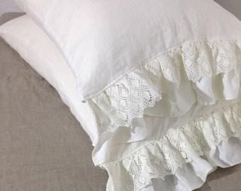Linen Pillowcase with Lace and Ruffles, Romantic Pillowcase, Antique Shabby Chic Sham, Queen, King, Standard Linen Pillowcase