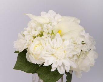 Elegant bridal bouquet, classic white wedding bouquet with peonies, callalilies, roses and hydrangeas. Ready to ship or can be made to order