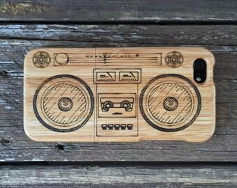 Eco-friendly iPhone Case Bamboo - Retro Boom Box