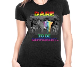Cool Fitted Shirt Dare To Be Different Neon Zebra Rainbow JUNIORS