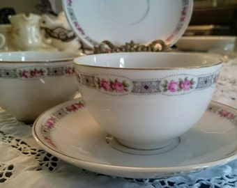 Vintage Tea Cup Set for 2~Made in Czechoslovakia