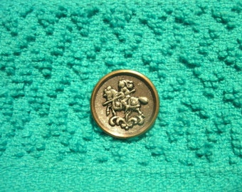 Knight on Horseback Pictorial Sewing Button Vintage Jousting
