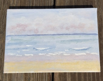 The Beach. 5x7 original acrylic painting, beach scene