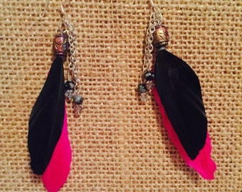 Pink and black feather earrings with chain tassel - boho earrings