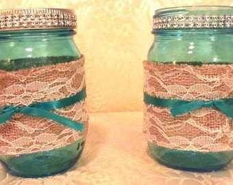 Set of 4 - Mason jar candle or bouquet centerpieces, beach themed, made to order