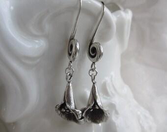 Sterling Silver Swirls and Flowers Dangle Earrings