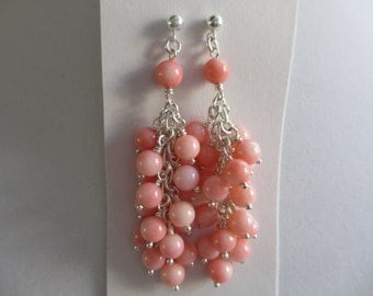 Sterling Silver Pink Corral Cluster Dangle Earrings