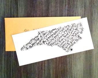 North Carolina Custom Hand Lettered Wedding Invitation