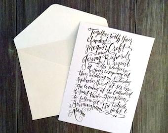 Alabama Custom Hand Lettered Wedding Invitation
