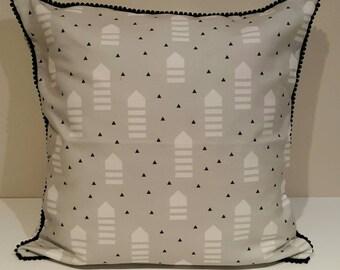 Cushion Cover - Grey & Black Geo Print