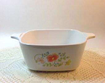 Vintage Corning Ware Wildflower Poppy Petite Casserole Dish 2.75 cup No Lid P-43-B Corning Ware Collector