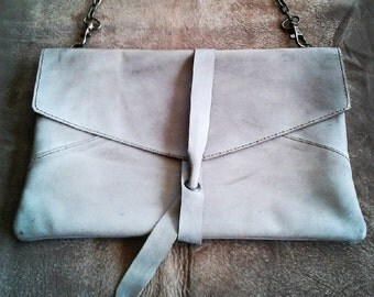 ELEGANT LEATHER CLUTCH - Stone grey leather clutch -Cowhide clutch- handmade leather bag - Shoulder leather bag