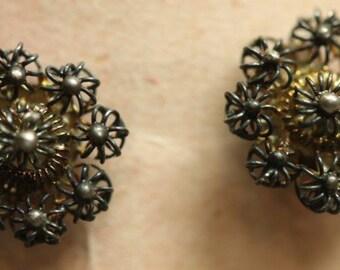 Old Vintage Sterling Silver Filigree Flower Earrings Pierced Posts