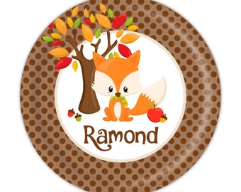 Personalized Fall Fox Plate   Brown Polka Dots, Thanksgiving Dinner Plate,  Autumn Animals Melamine