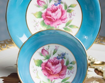 Beautiful Aynsley Rose Cup and Saucer Vintage