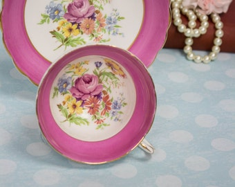 Vintage Rosina Pink Cup and Saucer with Beautiful Florals gold rim
