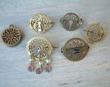Set of 6 Antique french bridge cock jewelry pieces. Balance cock jewelry. Steampunk jewelry. Steampunk pin / pendant. Antique stick pin