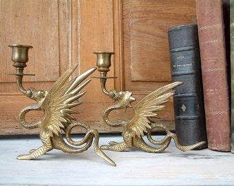 Set of 2 Antique french brass candlesticks. Antique brass dragon candlesticks. French chateau. Steampunk. Alchemy