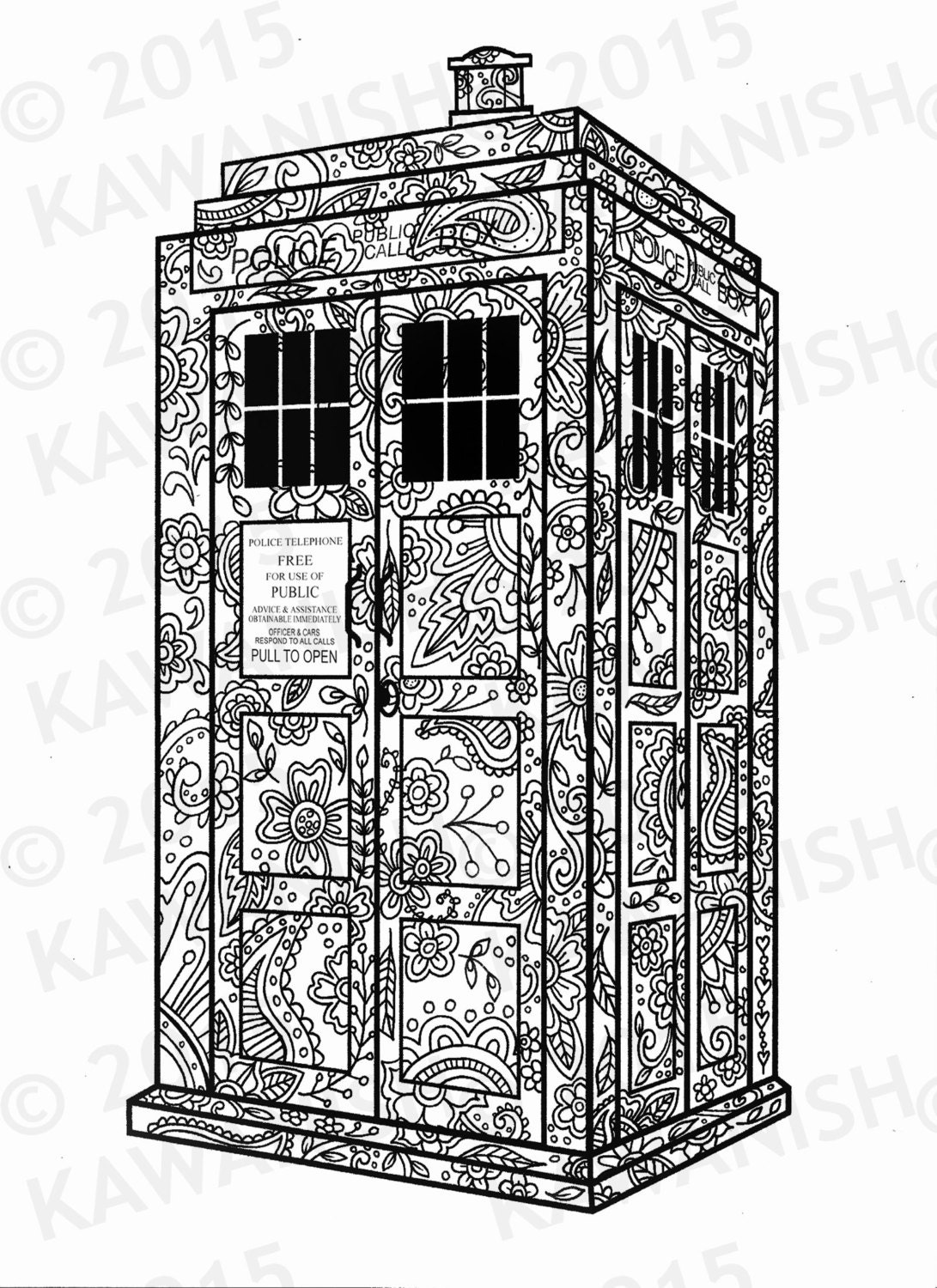 tardis dr who coloring page