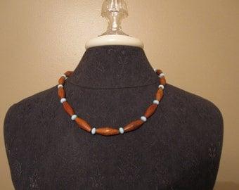 Bayong wood and Ceramic bead Necklace