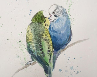 "Original Watercolor Painting ""Parrots in love"", 21x29,7 cm (8,3x11,7 inch), 2015."