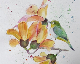 """Original Watercolor Painting """"Little bird on the flowers"""", 21x29,7 cm (8,3x11,7 inch)."""