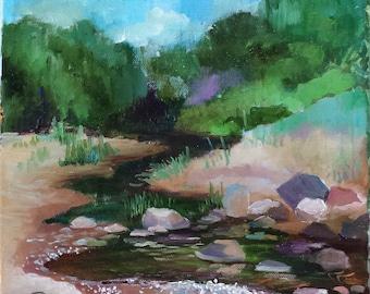 "Original Oil Painting ""River"", 30 x 30 cm (11,82 x 11,82 inch)."