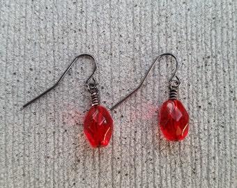 Red Gem Dangle Earrings