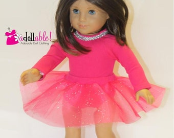 American made Girl Doll Clothes, 18 inch Girl Doll Clothing, Hot Pink Knit Ballet Outfit made to fit like American girl doll clothes
