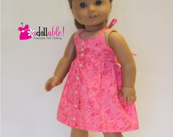 American made Girl Doll Clothes, 18 inch Girl Doll Clothing, Pink Endless Summer Halter Dress made to fit like American girl doll clothes