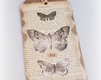 Primitive Grungy Hang Tag Vintage Style Butterfly Moth French Text Gift Tag Luggage Tag Mixed Media Art Tag Gift Topper Large Tag