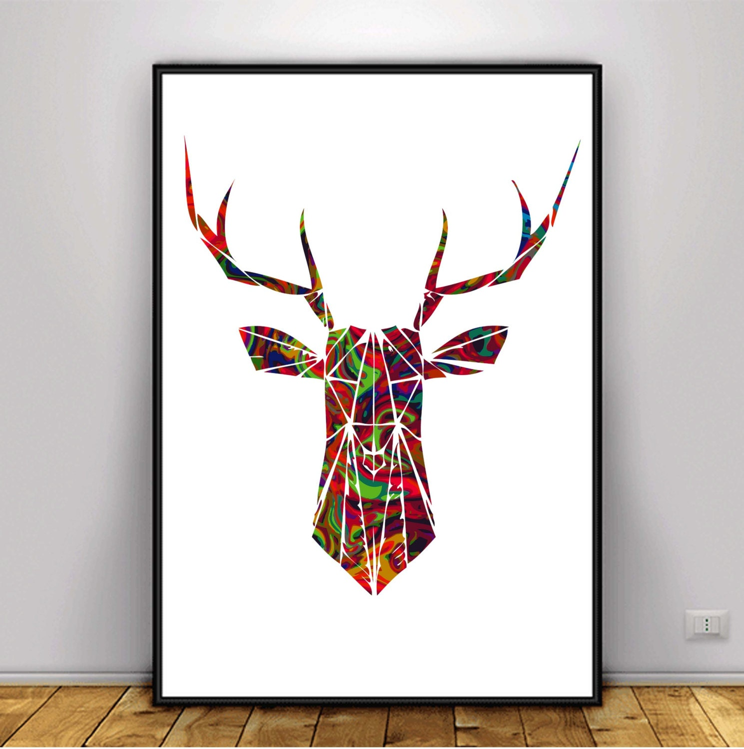Geometric deer digital art geometric animal art geometric for Cuadros con formas geometricas
