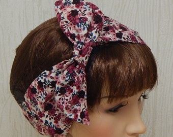 Vintage Style Hairband, Self Tie Head Band, Dolly Bow Hair Scarf, Retro Headband, Womens Headscarf