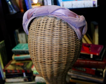 1940s Vintage Pink Hat with Ribbon, Velvet, and Rhinestones (Item #90008)