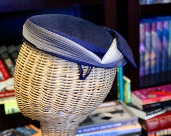 1940s Vintage Navy Hat with Dyed Fabric Accents and Bow (Item #90027)
