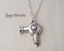 Blow Dryer Necklace - Hair Dryer Charm - Antique Silver Toned Jewelry - Hair Stylist Gifts