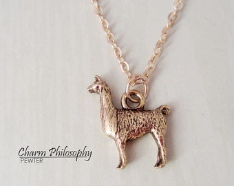 Llama Necklace - 3D Reversible Llama Charm - Llama Jewelry - Antique Gold Pewter Jewelry