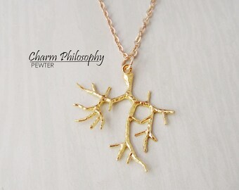 Gold Tree Branch Necklace - Large Antique Gold Branch Pendant - Golden Tree Branch Charm
