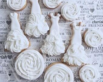 One Dozen Bridal Cookies - Engagement Favors - Wedding Cookies - Bridal Shower - Bridal Shower Cookies - Custom Cookies
