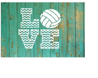 Volleyball Chevron Love Decal
